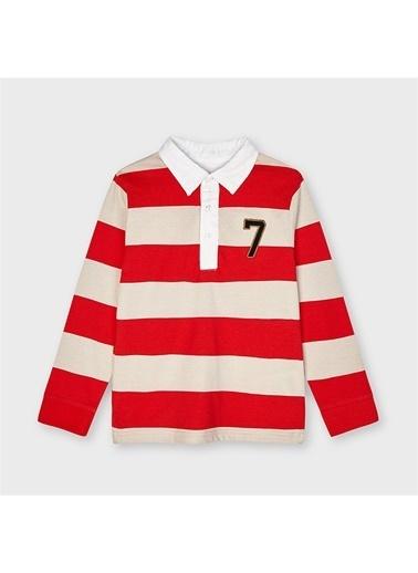 Mayoral Mayoral Erkek Çocuk Çizglili Sweatshirt Beyaz 20395 Kırmızı